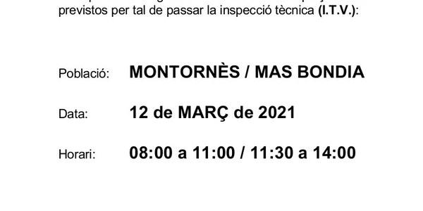 Inspecció Tècnica de vehicles agrícoles el dia 12 de març