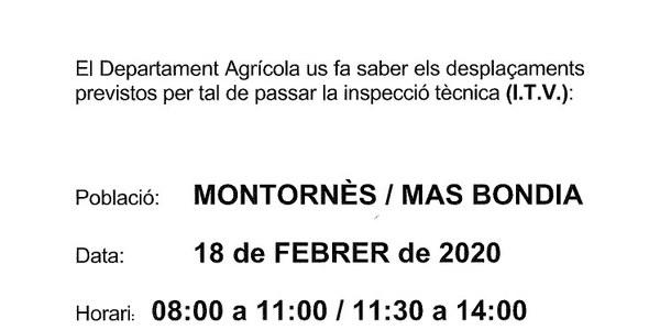 Inspecció Tècnica de vehicles agrícoles el dia 18 de febrer