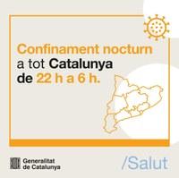 A partir del dia 25 d'octubre s'aplica el toc de queda nocturn a tot Catalunya de les 22.00h a les 6.00h