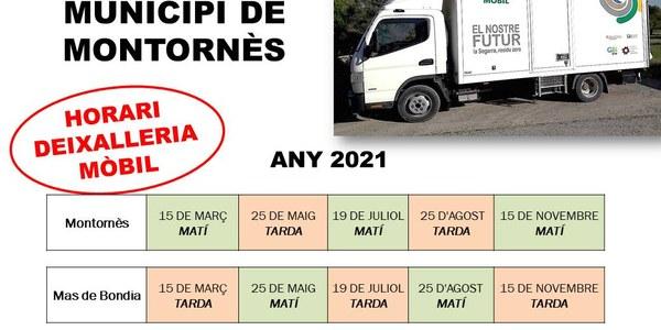 Horaris de la deixalleria mòbil per a l'any 2021
