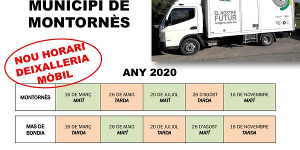 HORARIS DEIXALLERIA MÒBIL 2020