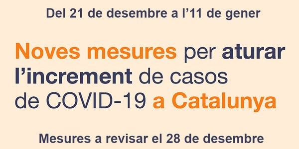 Noves mesures per aturar l'increment de casos de COVID a Catalunya durant les Festes de Nadal